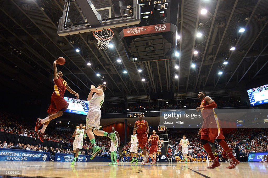 Will Clyburn #21 of the Iowa State Cyclones goes up with the ball against Jack Cooley #45 of the Notre Dame Fighting Irish in the first half during the second round of the 2013 NCAA Men's Basketball Tournament at UD Arena on March 22, 2013 in Dayton, Ohio.