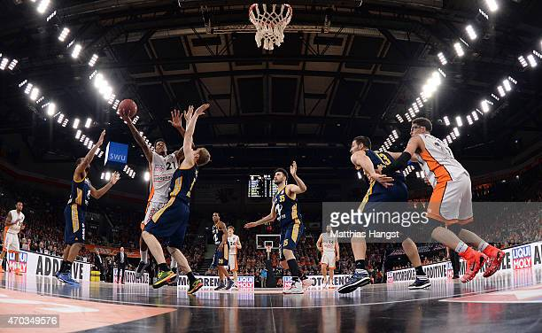 Will Clyburn of Ulm in action during the Beko Basketball Bundesliga match between Ratiopharm Ulm and Alba Berlin at ratiopharm Arena on April 19 2015...