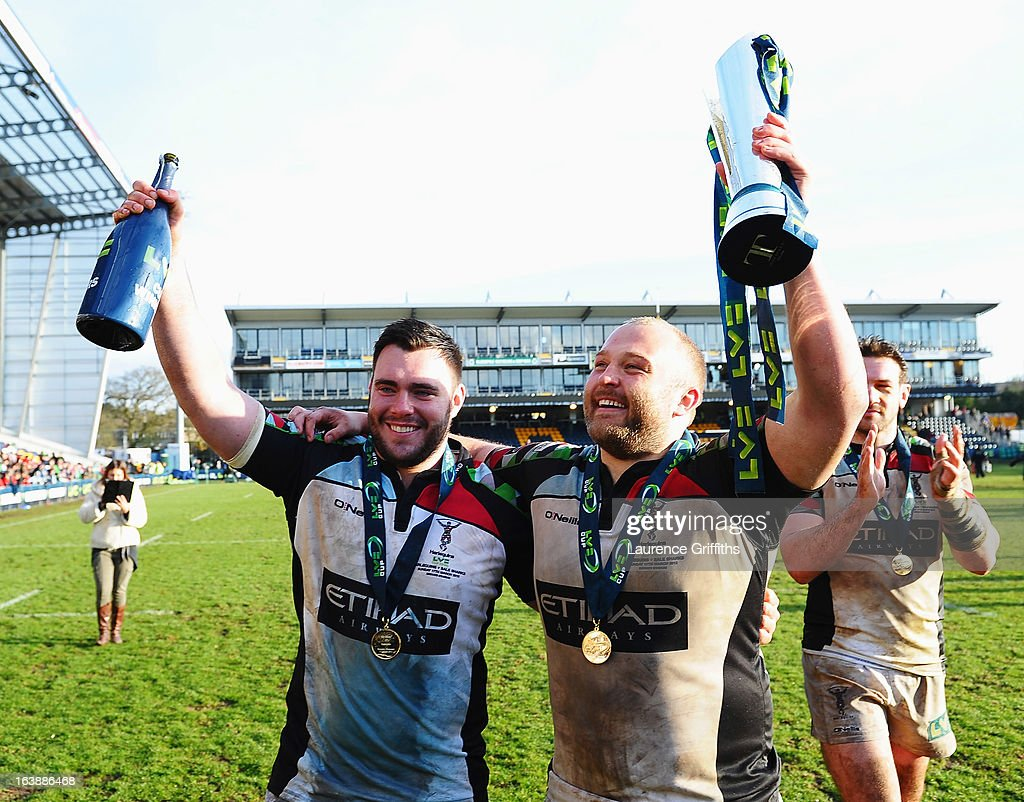 Will Collier (L) and Mark Lambert of Harlequins celebrate with the trophy after the LV= Cup Final between Sale Sharks and Harlequins at Sixways Stadium on March 17, 2013 in Worcester, England.