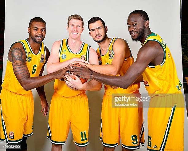 Will Daniels #6 of Limoges CSP Mark Payne #11 Leo Westermann #9 and Nobel BoungouColo #16 during the 2015/2016 Turkish Airlines Euroleague Basketball...