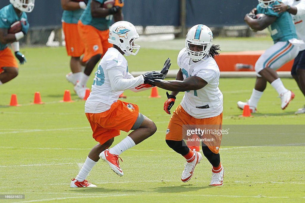 Will Davis #29 and Richard Marshall #31 of the Miami Dolphins run a drill during the first team OTA on May 21, 2013 at the Miami Dolphins training facility in Davie, Florida.