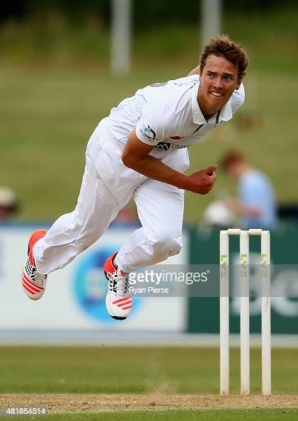 Will Davis of Derbyshire bowls during day one of the Tour Match between Derbyshire and Australia at The 3aaa County Ground on July 23 2015 in Derby...
