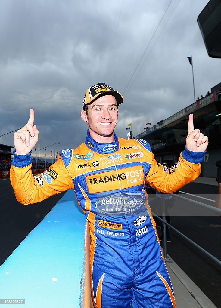 Will Davison driver of the #6 Tradingpost FPR Ford celebrates after taking pole position in the Top 10 shootout for the Bathurst 1000, which is round 11 of the V8 Supercars Championship Series at Mount Panorama on October 6, 2012 in Bathurst, Australia.