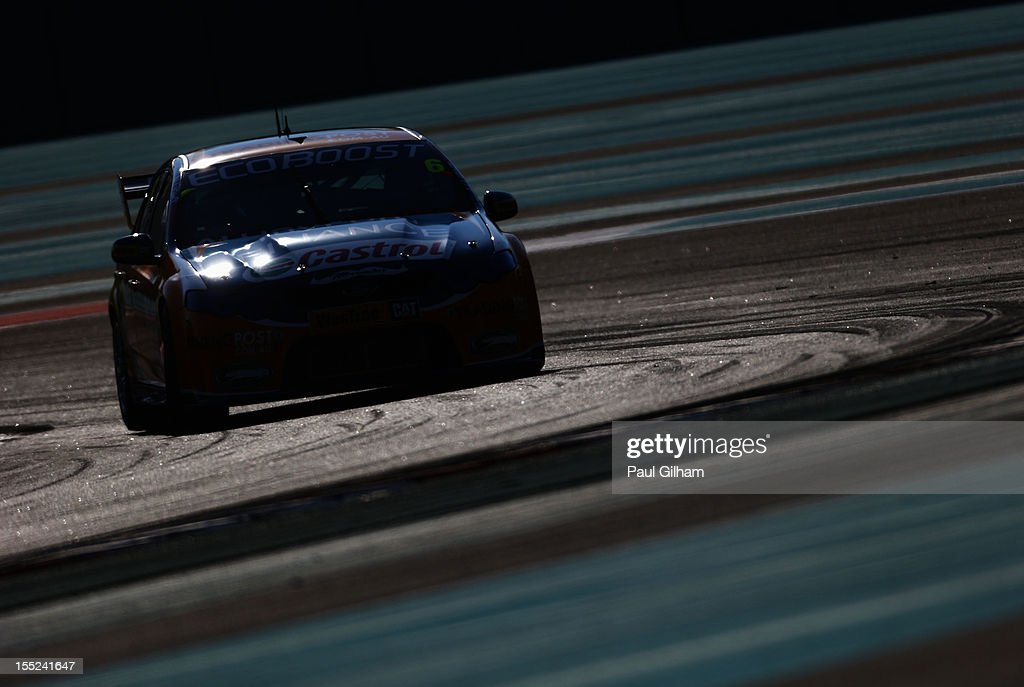 Will Davison drives the Trading Post Ford Falcon during the V8 Supercars qualifying session at the Yas Marina Circuit on November 2, 2012 in Abu Dhabi, United Arab Emirates.