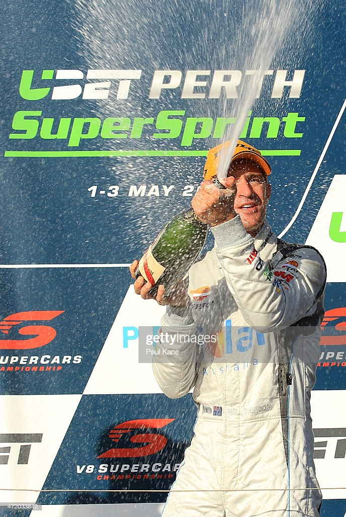 Will Davison of the Erebus Motorsport V8 team celbrates after winning race 9 during the V8 Supercars Perth Supersprint at Barbagallo Raceway on May 3...