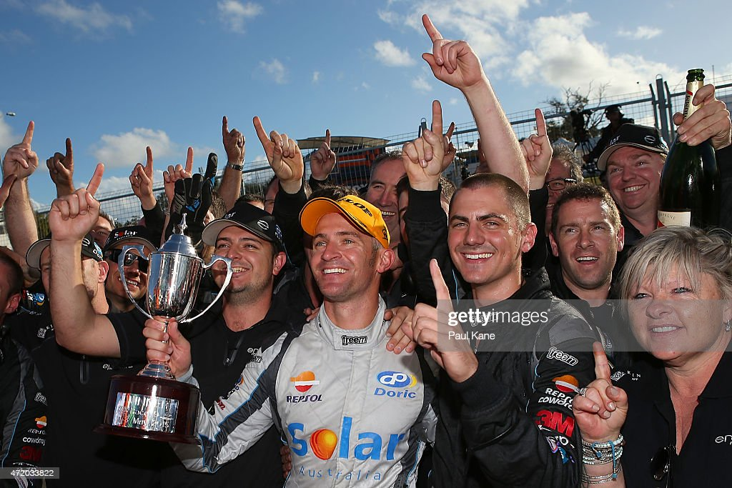 Will Davison of the #9 Erebus Motorsport V8 team celbrates with his team after winning race 9 during the V8 Supercars - Perth Supersprint at Barbagallo Raceway on May 3, 2015 in Perth, Australia.