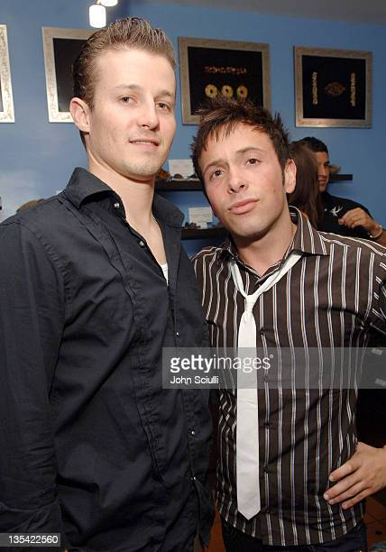 Will Estes and Jonathan Grahm during Jonathan's Chocolate Lounge at Comparte's Boutique in Brentwood California United States