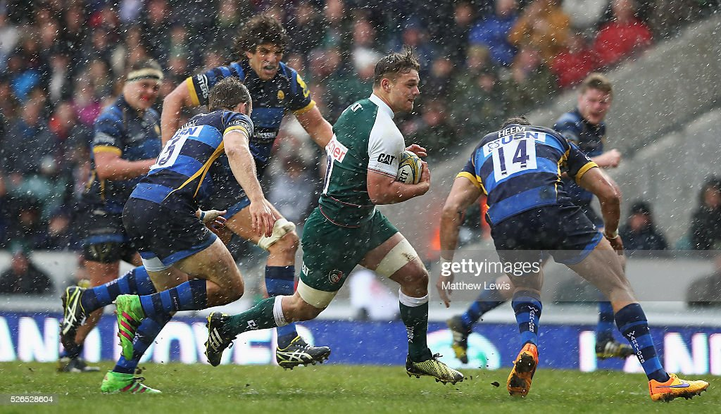 Will Evans of Leicester Tigers makes a break through the Worcester defence during the Aviva Premiership match between Leicester Tigers and Worcester Warriors at Welford Road on April 30, 2016 in Leicester, England.