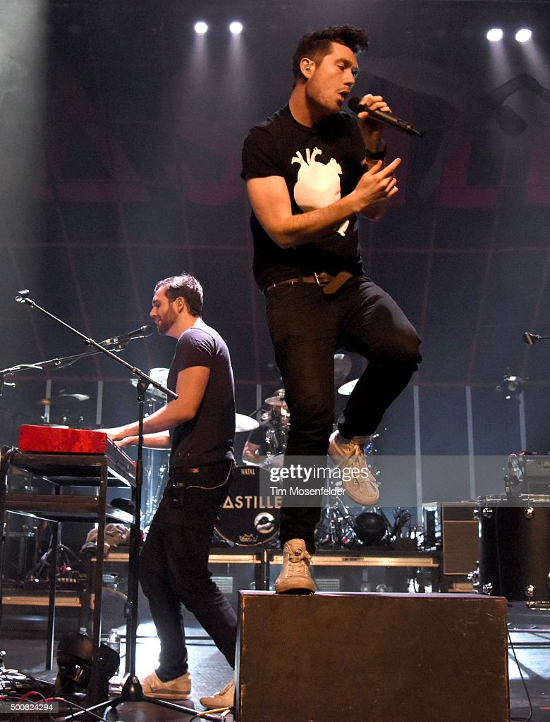 Will Farquarson (L) and Dan Smith of Bastille perform during Radio 94.7's Electric Christmas at Memorial Auditorium on December 9, 2015 in Sacramento, California.