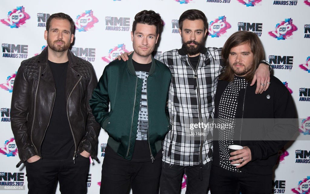 Will Farquarson, Dan Smith, Kyle Simmons and Chris Wood of Bastille arrive at the VO5 NME awards 2017 on February 15, 2017 in London, United Kingdom.