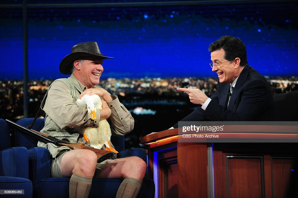 Will Ferrel on The Late Show with <a gi-track='captionPersonalityLinkClicked' href=/galleries/search?phrase=Stephen+Colbert&family=editorial&specificpeople=215133 ng-click='$event.stopPropagation()'>Stephen Colbert</a>, Sunday, Feb. 7, 2016 on the CBS Television Network.