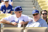 Will Ferrell and Eric Stonestreet attend Game Five of the National League Championship Series at Dodger Stadium on October 16 2013 in Los Angeles...