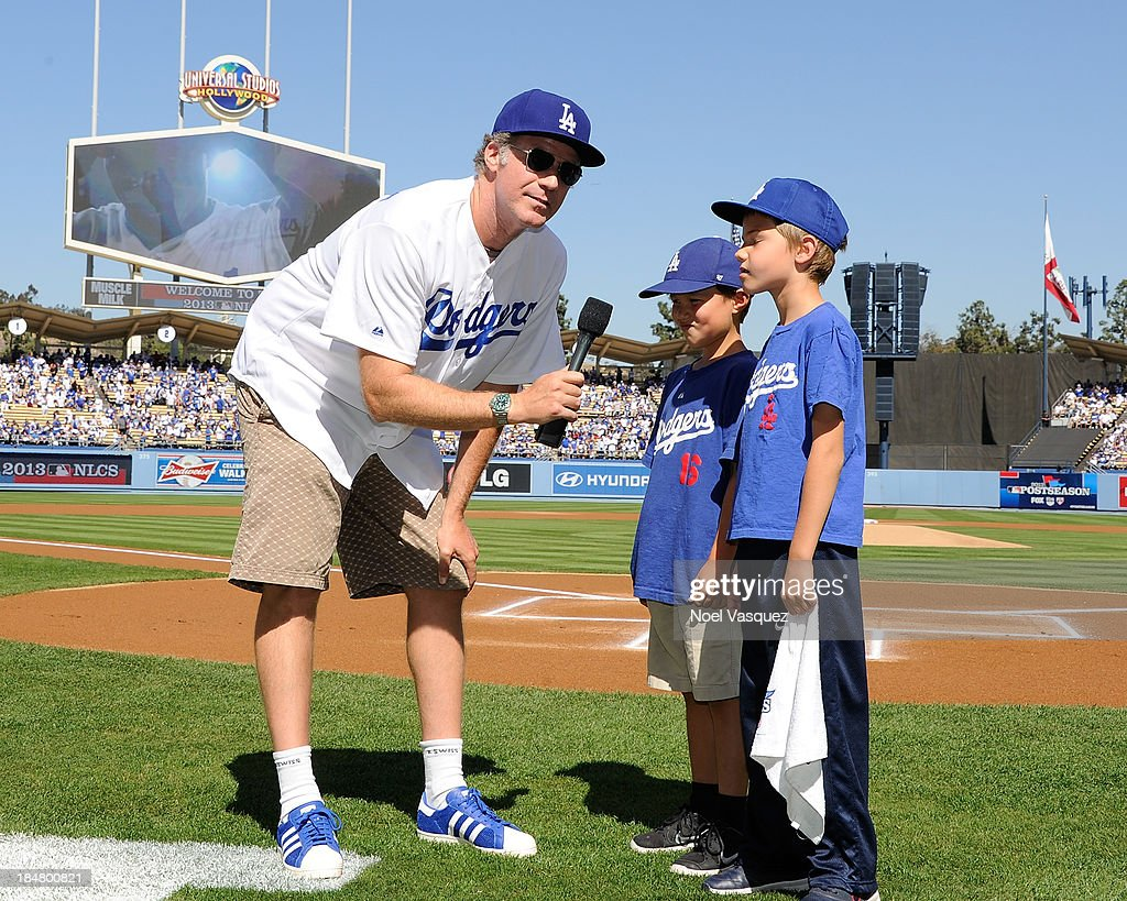 <a gi-track='captionPersonalityLinkClicked' href=/galleries/search?phrase=Will+Ferrell&family=editorial&specificpeople=171995 ng-click='$event.stopPropagation()'>Will Ferrell</a> and his son attend Game Five of the National League Championship Series at Dodger Stadium on October 16, 2013 in Los Angeles, California.