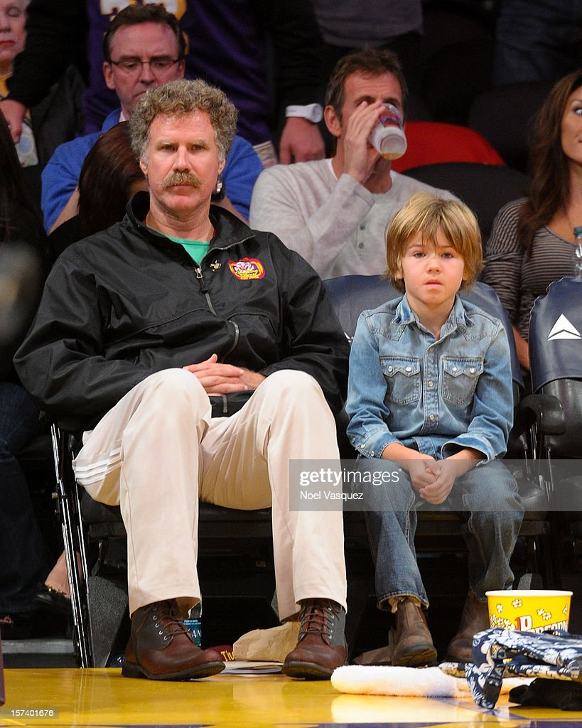 <a gi-track='captionPersonalityLinkClicked' href=/galleries/search?phrase=Will+Ferrell&family=editorial&specificpeople=171995 ng-click='$event.stopPropagation()'>Will Ferrell</a> (L) and his son attends a basketball game between the Orlando Magic and the Los Angeles Lakers at Staples Center on December 2, 2012 in Los Angeles, California.