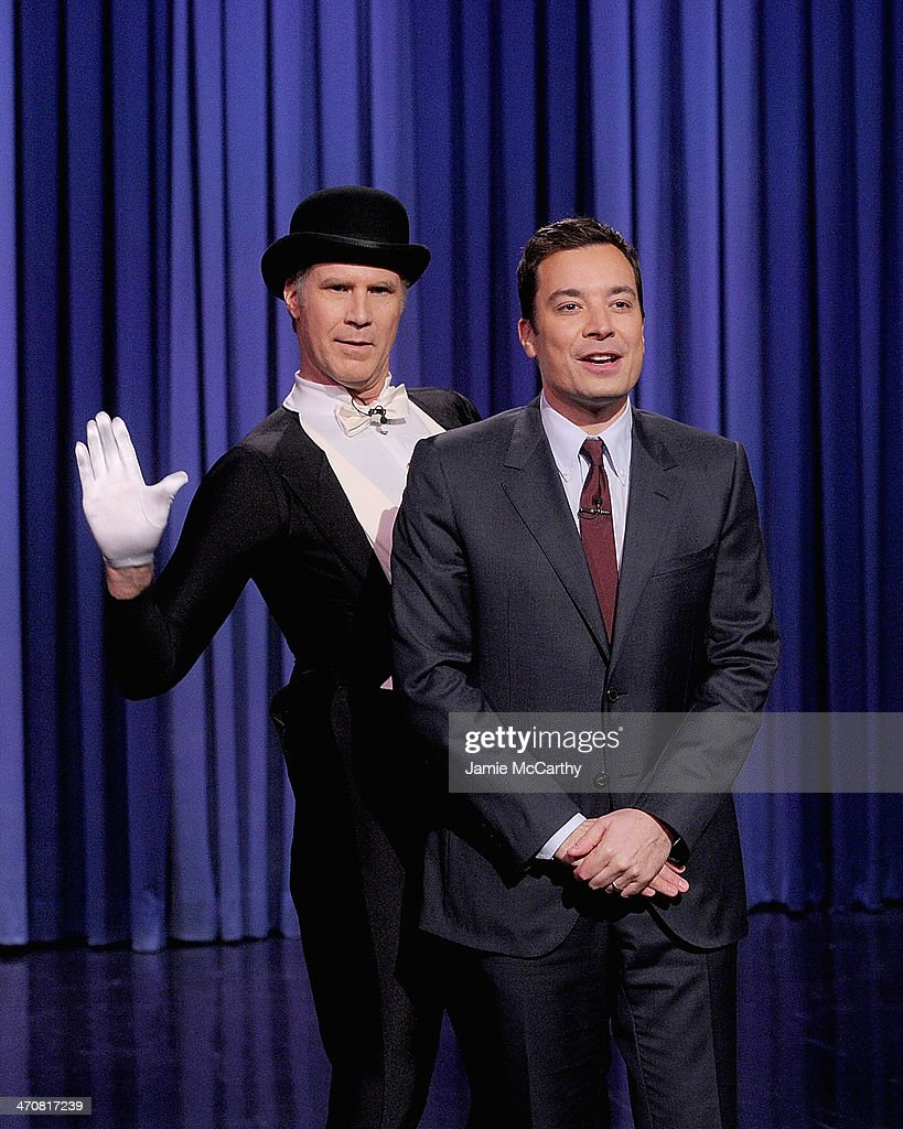 <a gi-track='captionPersonalityLinkClicked' href=/galleries/search?phrase=Will+Ferrell&family=editorial&specificpeople=171995 ng-click='$event.stopPropagation()'>Will Ferrell</a> and Host Jimmy Fallon on 'The Tonight Show Starring Jimmy Fallon' at Rockefeller Center on February 20, 2014 in New York City.
