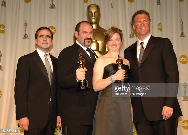 Will Ferrell and Steve Carell with Howard Berger and Tami Lane who won the award for Achievement in Makeup for The Chronicles of Narnia The Lion the...