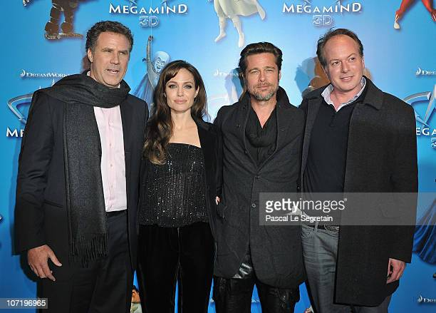 Will Ferrell Angelina Jolie Brad Pitt and director Tom McGrath attend the 'Megamind' Paris premiere on November 29 2010 in Paris France