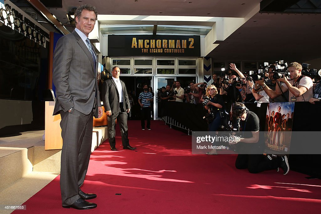 <a gi-track='captionPersonalityLinkClicked' href=/galleries/search?phrase=Will+Ferrell&family=editorial&specificpeople=171995 ng-click='$event.stopPropagation()'>Will Ferrell</a> arrives at the 'Anchorman 2: The Legend Continues' Australian premiere on November 24, 2013 in Sydney, Australia.