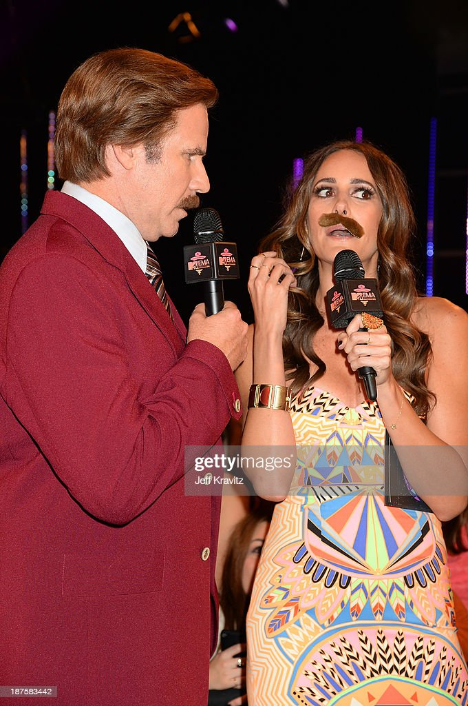 Will Ferrell as Anchorman's Ron Burgundy and Louise Roe attend the MTV EMA's 2013 at the Ziggo Dome on November 10 2013 in Amsterdam Netherlands
