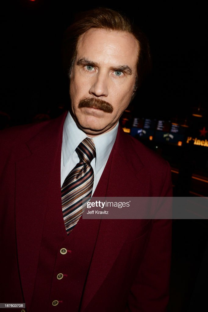 <a gi-track='captionPersonalityLinkClicked' href=/galleries/search?phrase=Will+Ferrell&family=editorial&specificpeople=171995 ng-click='$event.stopPropagation()'>Will Ferrell</a> as Anchorman's Ron Burgundy poses backstage during the MTV EMA's 2013 at the Ziggo Dome on November 10, 2013 in Amsterdam, Netherlands.