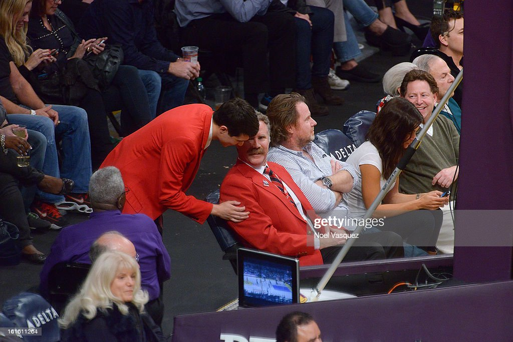 Will Ferrell dresses up as a Staples Center security guard at a basketball game between the Phoenix Suns and the Los Angeles Lakers at Staples Center on February 12, 2013 in Los Angeles, California.