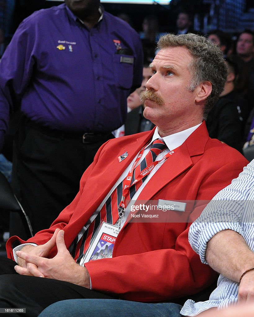 <a gi-track='captionPersonalityLinkClicked' href=/galleries/search?phrase=Will+Ferrell&family=editorial&specificpeople=171995 ng-click='$event.stopPropagation()'>Will Ferrell</a> dresses up as a Staples Center security guard at a basketball game between the Phoenix Suns and the Los Angeles Lakers at Staples Center on February 12, 2013 in Los Angeles, California.