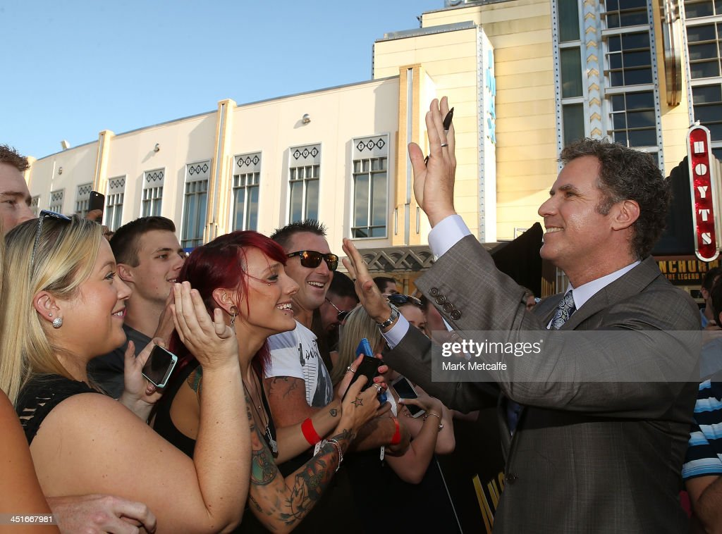 <a gi-track='captionPersonalityLinkClicked' href=/galleries/search?phrase=Will+Ferrell&family=editorial&specificpeople=171995 ng-click='$event.stopPropagation()'>Will Ferrell</a> signs autographs for fans at the 'Anchorman 2: The Legend Continues' Australian premiere on November 24, 2013 in Sydney, Australia.