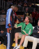 Will Ferrell talks to Nate Robinson at the game between the Oklahoma City Thunder and the Los Angeles Lakers at Staples Center on April 10 2011 in...