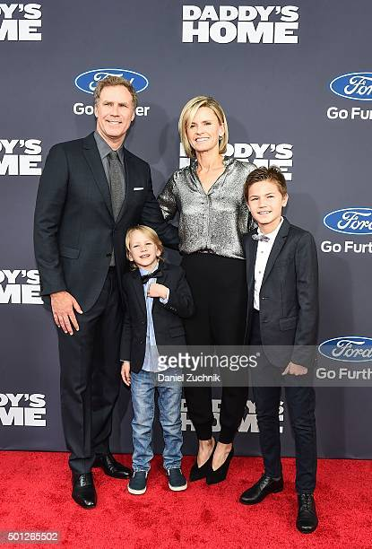 Will Ferrell with family wife Viveca Paulin and sons Magnus Ferrell and Mattias Ferrell attend the 'Daddy's Home' New York premiere at AMC Lincoln...