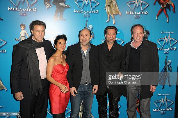 Will FerrellGeraldine Nakache Kad Merad Brad Pitt and director Tom McGrath t pose as thes attend 'Megamind' Paris Premiere at Cinema Normandy on...