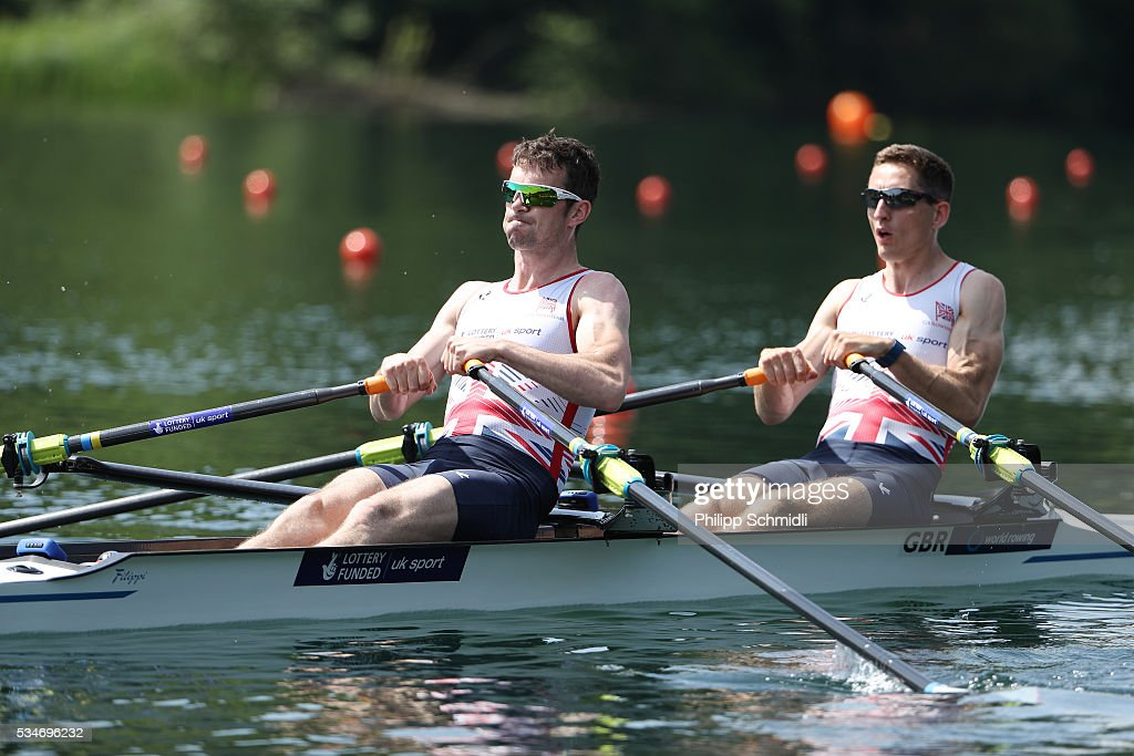 Will Fletcher (R) and <a gi-track='captionPersonalityLinkClicked' href=/galleries/search?phrase=Richard+Chambers&family=editorial&specificpeople=1007114 ng-click='$event.stopPropagation()'>Richard Chambers</a> of Great Britain compete in the Lightweight Men's Double Sculls heats during day 1 of the 2016 World Rowing Cup II at Rotsee on May 27, 2016 in Lucerne, Switzerland.