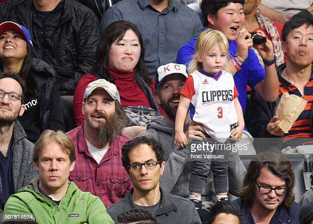 Will Forte Jason Sudeikis and Otis Alexander Sudeikis attend a basketball game between the Chicago Bulls and the Los Angeles Clippers at Staples...