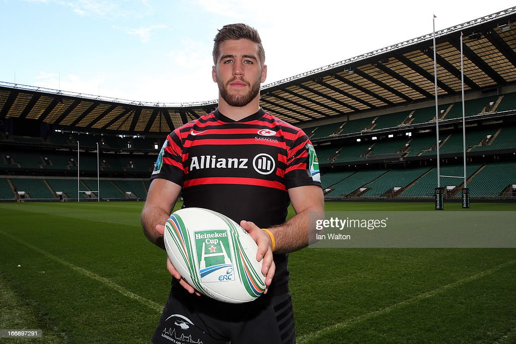 Will Fraser during a media session to preview the Heineken Cup semi final match between Saracens and Toulon at Twickenham Stadium on April 18, 2013 in London, England.
