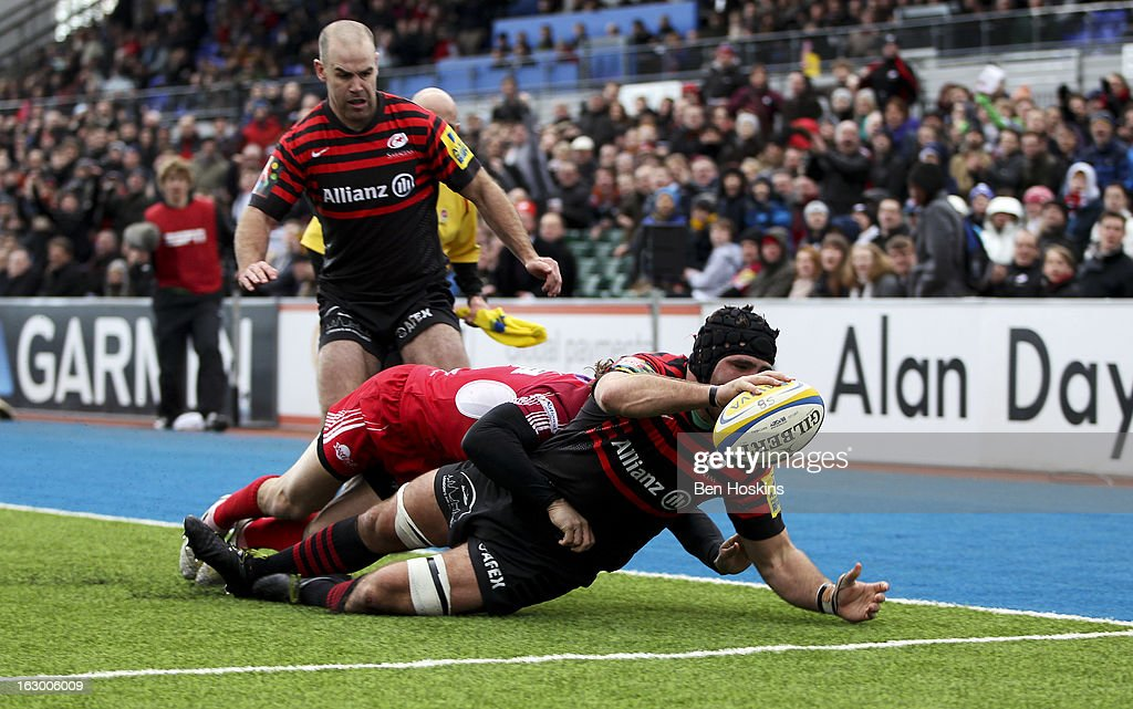Will Fraser of Saracens scores a try during the Aviva Premiership match between Saracens and London Welsh at Allianz Park on March 03, 2013 in Barnet, England.