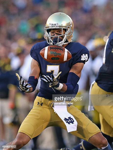 Will Fuller of the Notre Dame Fighting Irish makes a catch against the Michigan Wolverines at Notre Dame Stadium on September 6 2014 in South Bend...