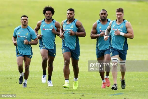Will Genia Henry Speight Samu Kerevi Tevita Kuridrani Sean McMahon of the Wallabies run laps during an Australian Wallabies training session at...