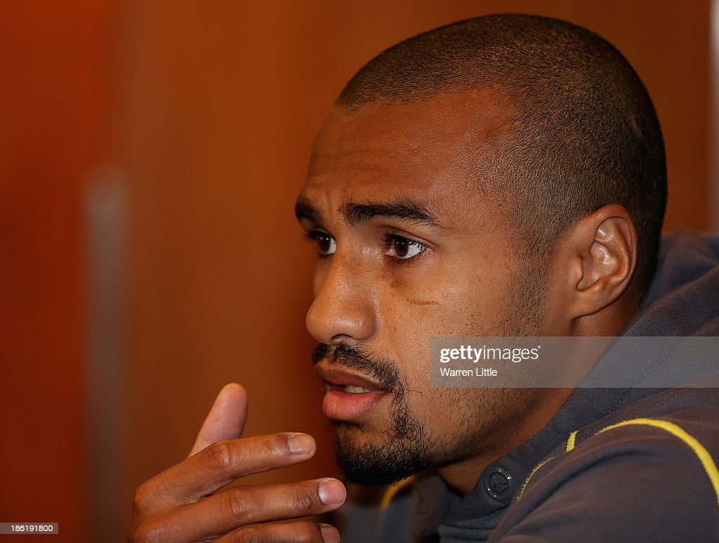 Will Genia of Australia addresses the media at the Royal Garden Hotel on October 29, 2013 in London, England.
