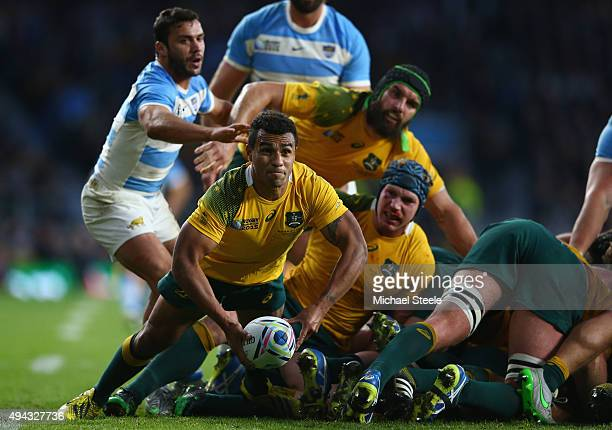 Will Genia of Australia during the 2015 Rugby World Cup Semi Final match between Argentina and Australia at Twickenham Stadium on October 25 2015 in...
