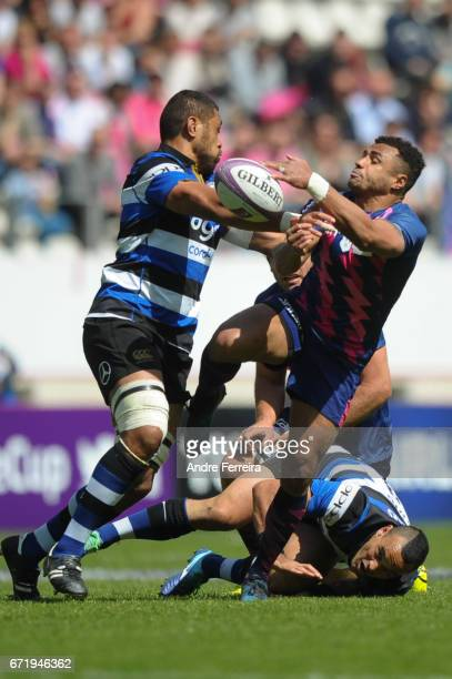 Will Genia of Stade Francais and Taulupe Faletau of Bath during the European Challenge Cup semi final between Stade Francais and Bath on April 23...