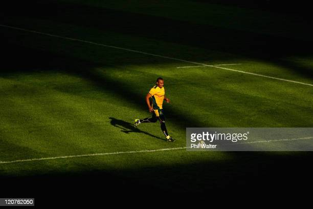 Will Genia of the Wallabies collects the ball during an Australian Wallabies training session at the Moses Mabhida Stadium on August 9 2011 in Durban...
