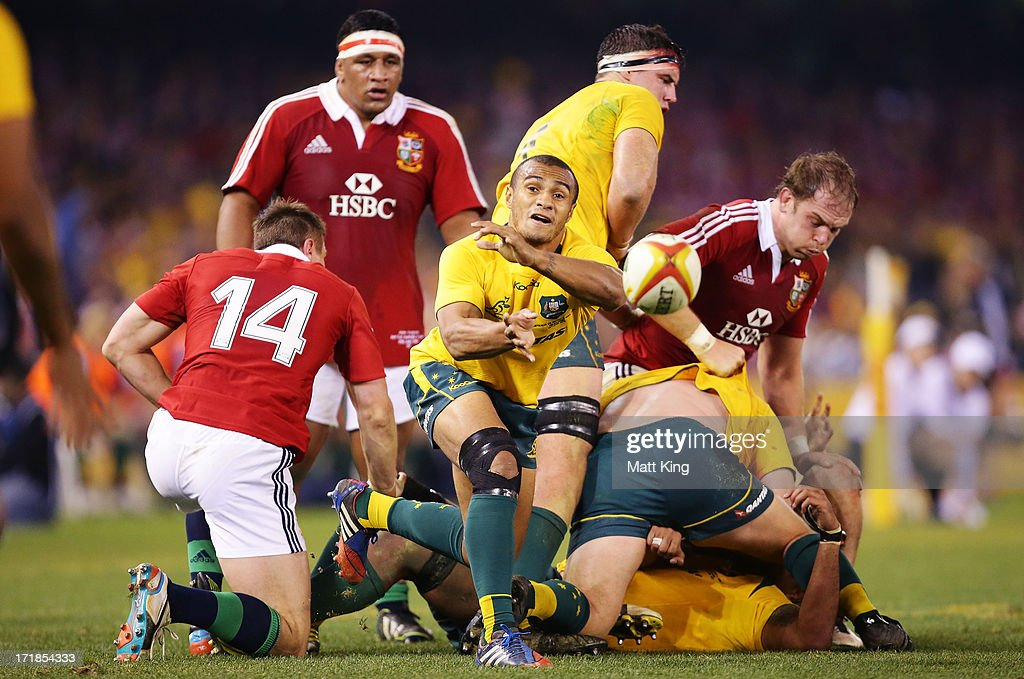 Will Genia of the Wallabies passes from the ruck during game two of the International Test Series between the Australian Wallabies and the British & Irish Lions at Etihad Stadium on June 29, 2013 in Melbourne, Australia.
