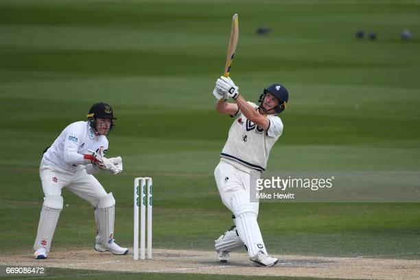 Will Gidman of Kent skies a catch straight to Jofra Archer off the bowling of Delray Rawlins as wicketkeeper Ben Brown looks on during day three of...