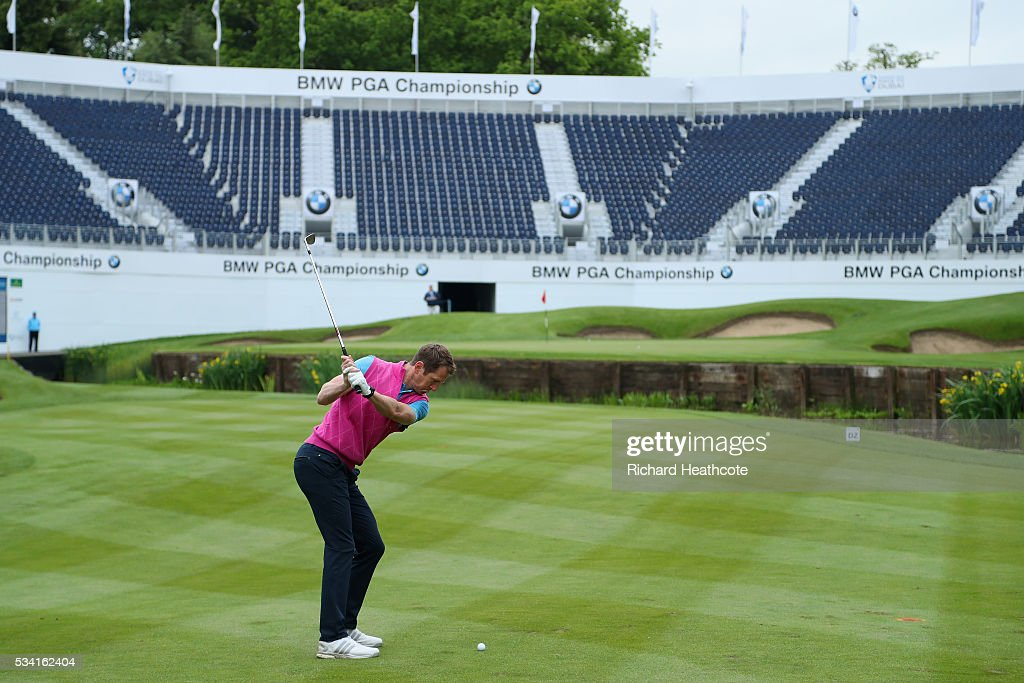 <a gi-track='captionPersonalityLinkClicked' href=/galleries/search?phrase=Will+Greenwood&family=editorial&specificpeople=206169 ng-click='$event.stopPropagation()'>Will Greenwood</a> hits an approach during the Pro-Am prior to the BMW PGA Championship at Wentworth on May 25, 2016 in Virginia Water, England.