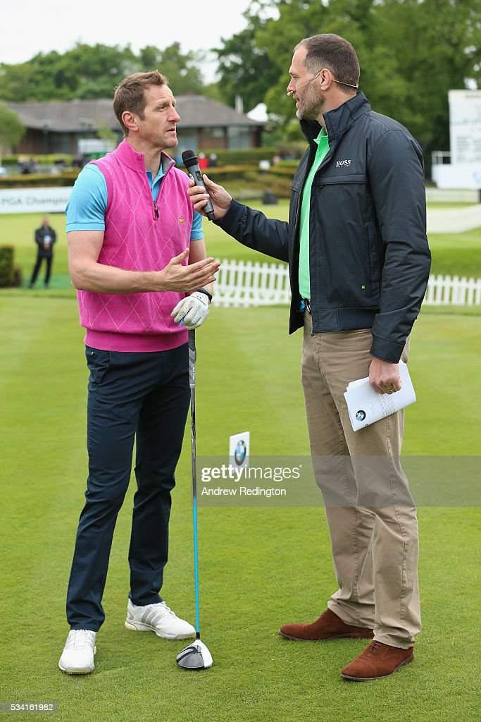 <a gi-track='captionPersonalityLinkClicked' href=/galleries/search?phrase=Will+Greenwood&family=editorial&specificpeople=206169 ng-click='$event.stopPropagation()'>Will Greenwood</a> is interviewed during the Pro-Am prior to the BMW PGA Championship at Wentworth on May 25, 2016 in Virginia Water, England.