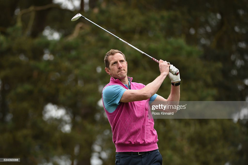 Will Greenwood tees off during the Pro-Am prior to the BMW PGA Championship at Wentworth on May 25, 2016 in Virginia Water, England.