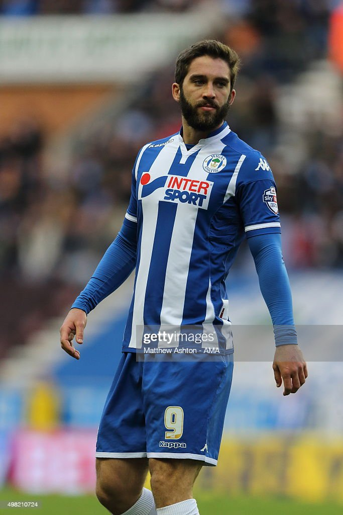 Will Grigg of Wigan Athletic during the Sky Bet Football League One match between Wigan Athletic and Shrewsbury Town at JJB Stadium on November 21...