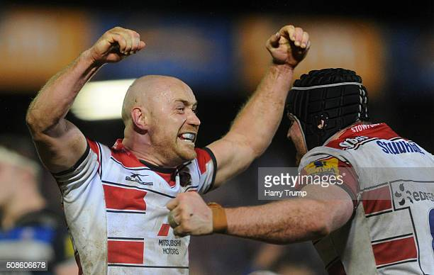 Will Heinz of Gloucester and Ben Morgan of Gloucester celebrates at the final whistle during the Aviva Premiership match between Bath Rugby and...
