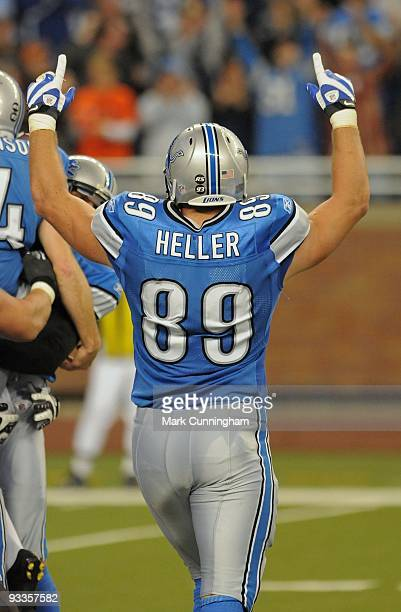 Will Heller of the Detroit Lions raises his arms into the air after the victory against the Cleveland Browns at Ford Field on November 22 2009 in...