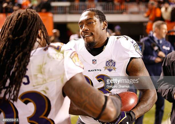 Will Hill of the Baltimore Ravens celebrates his return of a blocked field goal for a touchdown during the fourth quarter against the Cleveland...
