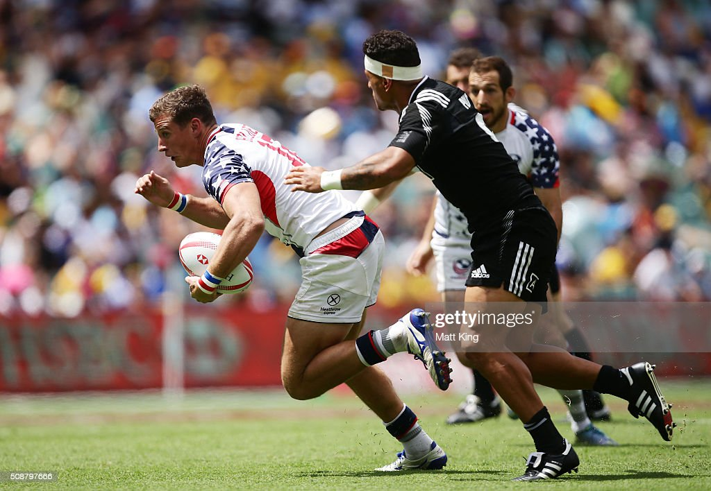 Will Holder of USA takes on the defence during the 2016 Sydney Sevens Cup Quarter Final match between New Zealand and USA at Allianz Stadium on February 7, 2016 in Sydney, Australia.